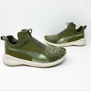 Puma Rebel mid WNS VR green camo high top sneakers